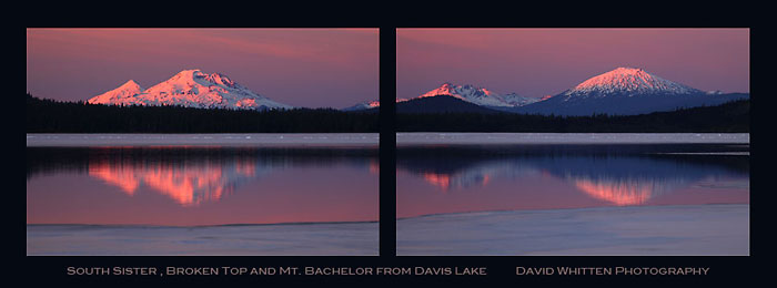 David Whitten Photo - Ice on Davis Lake, South Sister, Broken Top and Mt. Bachelor, Cascade Mountains Oregon.