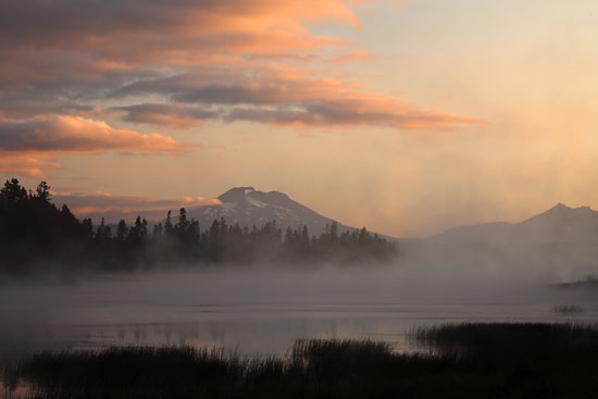 Sunrise Fog over Crane Prairie Lake, Cascade Mountains, Oregon.
