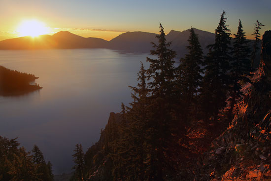 Crater Lake Sunrise and Wizard Island Crater Lake National Park Oregon