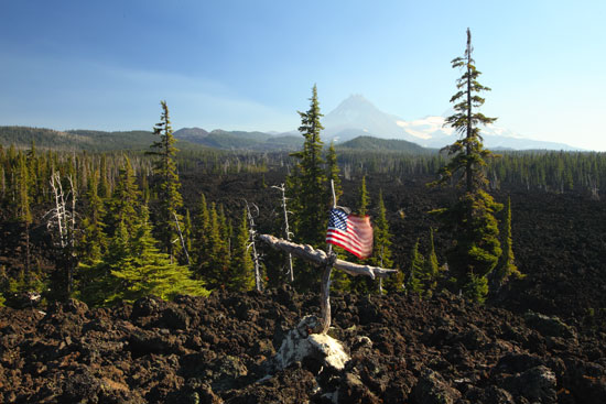 United States Flag McKenzie Pass North Sister Oregon