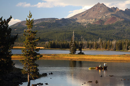 Fly fishing Sparks Lake near Bend Oregon