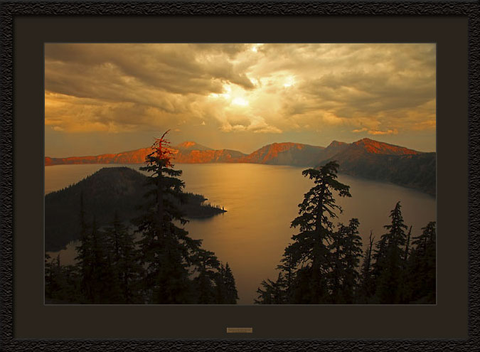 Framed Photograph Crater Lake National Park Oregon Sunset.