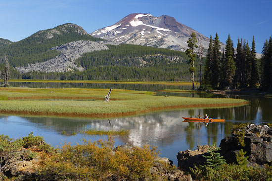 Canoeing on Sparks Lake South Sister Oregon