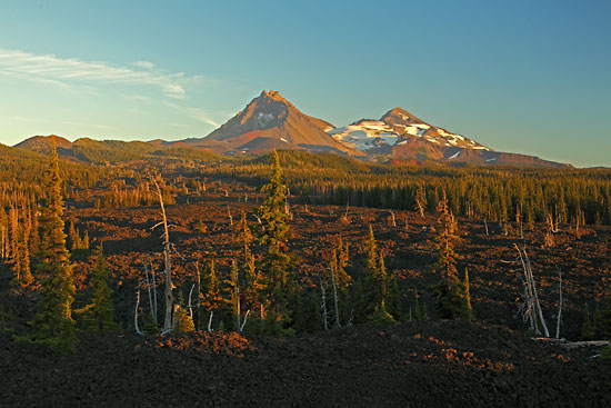 North Sister and Middle Sister with Lava flow on Mckenzie Pass, Cascade Mountains, Oregon