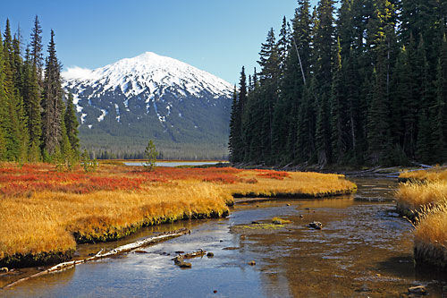 Photograph of Mt. Bachelor from Sparks Lake, Cascade Mountains, Oregon