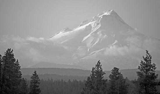 Mt. Hood black and white photograph, Cascade Mountains, Oregon