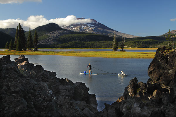 Paddle board on Sparks Lake South Sister Oregon