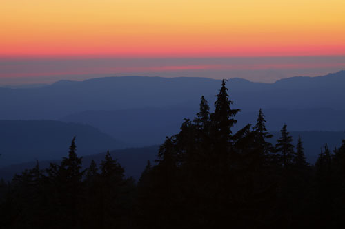 Rainbow Sunset from high in the Cascade Mountains Oregon
