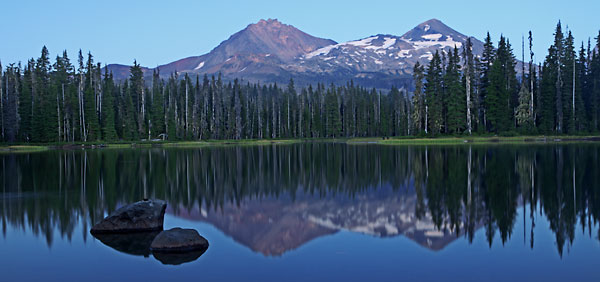 Scott Lake, Canoe, North Sister and Middle Sister, Cascade Mountains, Oregon