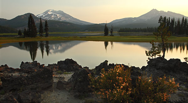 Sparks Lake Sunrise and wildflowers and lava rock, Bend, Oregon