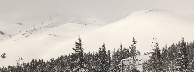 Landscape photography, Oregon Ski Resorts Chairlift into clouds, Mt. Bachelor near Bend Oregon