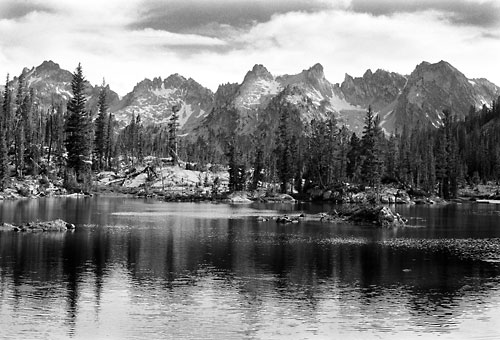 Photograph of Alice Lake, Sawtooth Mountains, Idaho black and white photography by David Whitten