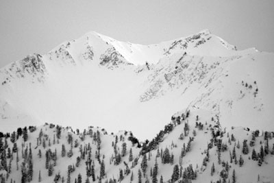 Black and White Photograph Utah Wasatch Mountains Superior Peak and Monte Cristo