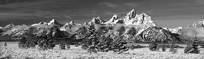 Black and White Photograph Tetons Jackson Hole Wyoming