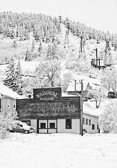 National Garage, Park Avenue, Park City, Utah - David Whitten Photography Black and White Photograph