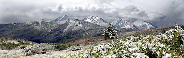 Early Snow Mt. Timpanogos Wasatch Mountains Utah photo Panorama Panoramic Photograph