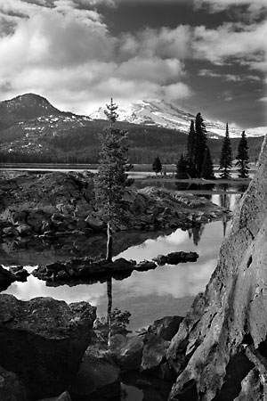 Bend Oregon Sparks Lake Geese South Sister Deschutes National Forest Oregon Black and White Photograph