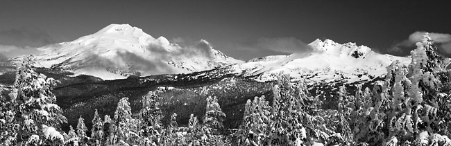 South Sister and Broken Top Mountain from Mt. Bachelor Oregon Black and White Photograph