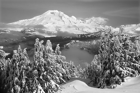 South sister broken top from mt. bachelor bend oregon Black and White Photography