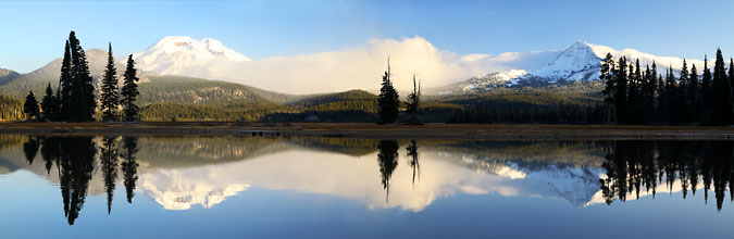 Sparks Lake at sunrise panorama, near Bend, Oregon Panoramic Photograph