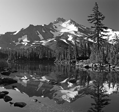 Mt. Jefferson, Bays Lake Mt. Jefferson wilderness black and white photograph by photographer David Whitten