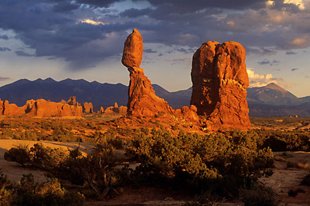 Balanced Rock and La Sal Mountains Arches National Park photograph Utah
