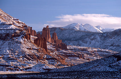 Fisher Towers La Sal Mountains near Moab, Utah