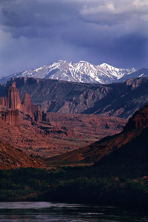 Colorado River Fisher Towers La Sal Mountains near Moab Utah, Photographer David Whitten