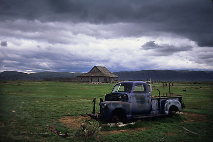 Truck and Barn Bear River  Wyoming