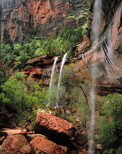 Waterfalls at Emerald Pools, Zion National Park photograph, Utah photographer David Whitten