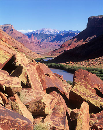 Colorado River and La Sal Mountains near Moab Utah photograph